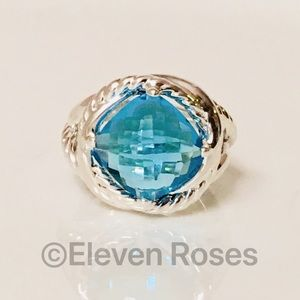 David Yurman 11mm Blue Topaz Infinity Ring